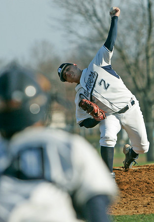 Danvers: Danvers Ray Arocho's quick pitching release frustrated the Swampscott batters.  photo by Mark Teiwes / Salem News