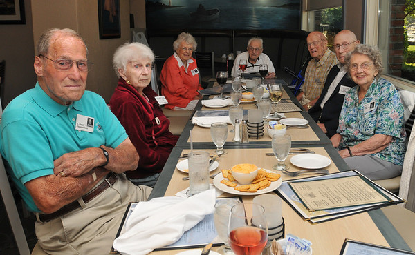 Danvers: The Danvers High School Class of 1936 gathered for their 75th reunion.  From left, E. Pappy Papamechail, Mariorie Clay Morano, Phyllis Walfield D'Eon, Bob Sidmore, Frand Tyrrell, Melvin Rapkin, and Ethel Ross Campbell.   photo by Mark Teiwes / Salem News