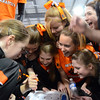 Middleton: Beverly High School gymnastics team reacts after they totaled the points beating Masco 140.1 to 140.05.   photo by Mark Teiwes  / Salem News