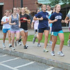 Marblehead:  The Marblehead High girls cross country team members run together at the start of practice photo by Mark Teiwes  / Salem News