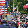 Swampscott: Burrill Street was filled with flags and parade watchers for Veterans Appreciation Day parade  photo by Mark Teiwes / Salem News
