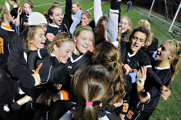 Lynn: Ipswich girls soccer team celebrate after their win over Lynnfield.  photo by Mark Teiwes / Salem News