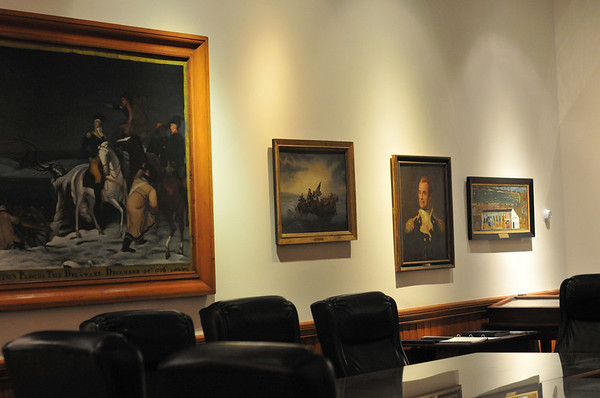 Marblehead:  Art work at Abbot Hall, selectman's meeting room.   photo by Mark Teiwes / Salem News