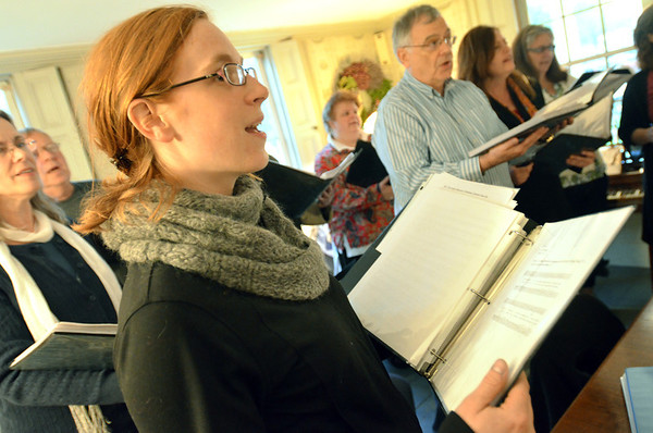 Danvers: Laura Quayle sings out during a Essex Harmony practice.  photo by Mark Teiwes / Salem News