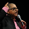 "Salem: Deepak Chopra greeted the to a sold out crowd of 1,600  at Salem State with the question ""How's life?""  photo by Mark Teiwes / Salem News"