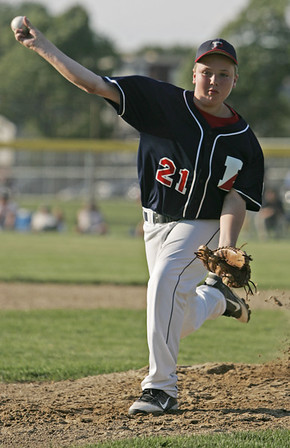 Lynn: Peabody West pitcher Connor Corrigan throws a fastball against Salem American in a District 16 little league game.  photo by Mark Teiwes / Salem News