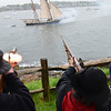 "Marblehead: The War of 1812 clipper schooner ""Lynx,""  arrives in Marblehead Harbor with salutes of gunfire echoed between the historical re-enactors in Marblehead's Glover's Regiment and the Lynx.  photo by Mark Teiwes / Salem News"