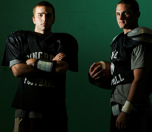 Hamilton: Pingree School football players Brian Rogers, left, and Will Walfield.   Mark Teiwes / staff photo
