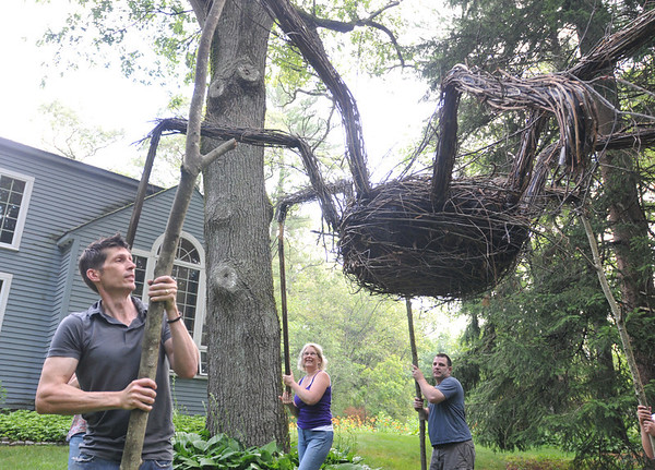 "Hamilton: Allan Brockenbrough, left, Jill Herrick-Lee, and Bill Melville place a giant spider made from branches for ""Art Grows Here"".   photo by Mark Teiwes / Salem News"