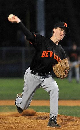 Danvers: Beverly pitcher #14 Kyle Johnson releases a pitch.  photo by Mark Teiwes / Salem News
