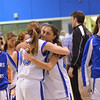 Danvers:  Danvers players Katie McKenna, left, and Janelle Saggese hug after their season ending loss to Salem.  photo by Mark Teiwes / Salem News