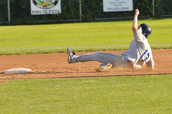 Saugus: Danvers 15-year-old Babe Ruth all-star  baseball player Ryan Heber slides safe into second base. photo by Mark Teiwes / Salem News