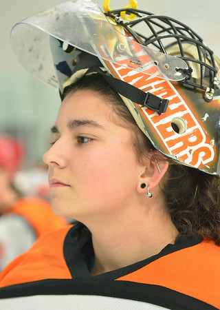 Stoneham: Beverly High School girls hockey goalie Jenna LoVasco.  photo by Mark Teiwes  / Salem News