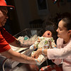 Beverly: Damien Nival, left, and Yolinnet Colon of Lynn celebrated the new year as the proud parents of Jeremiah Joel Nival who was born in Beverly Hospital ten seconds after midnight on January 1, 2011.  photo by Mark Teiwes  / Salem News