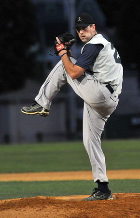 Danvers: Peabody Champions starting pitcher Mike Moroney winds up for a pitch at the North Shore Baseball League Final.  Photo by Mark Teiwes / Salem News