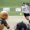 Peabody: Bishop Fenwick pitcher Taylor Ahearn throws a strike out against a Cardinal Spellman batter.  photo by Mark Teiwes / Salem News