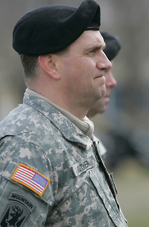 Salem: First Lt. Mark Gauthier of Peabody looks on during the muster ceremony.   photo by Mark Teiwes / Salem News
