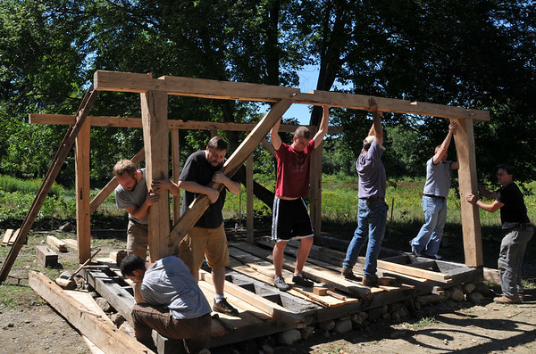 Ipswich:  A crew raises the second beam and post wall in the re-creation of a timber frame house from 1657 on the lawn of the Whipple House.  photo by Mark Teiwes / Salem News