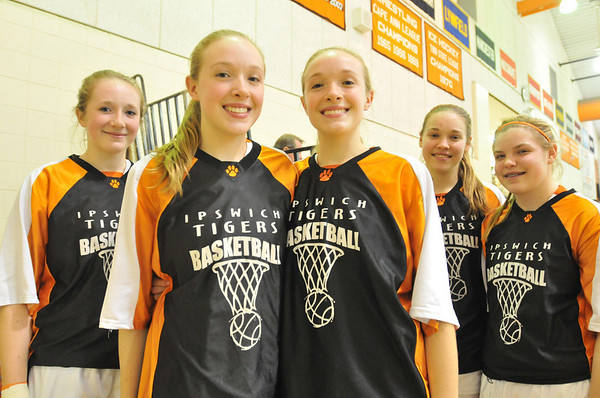 Ipswich: Ipswich High School girls basketball has two sets of sisters.  Pictured from left, Julia, Abby, and Rea Davis, and Hannah and Brigid O'Flynn. photo by Mark Teiwes / Salem News