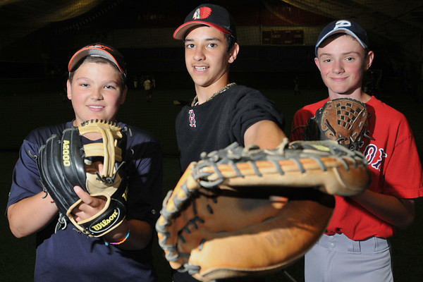 Peabody:  The Peabody American Little League all-star top pitchers are Alex Gomes, left, Frank Celona, and Kyle Hentosh.   photo by Mark Teiwes / Salem News