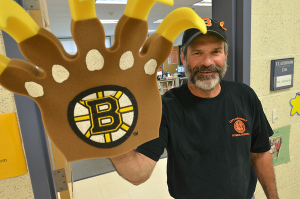Beverly: North Beverly Elementary School custodian Ken Richardson hasn't shaved since the Bruins have been in the playoffs.  photo by Mark Teiwes / Salem News