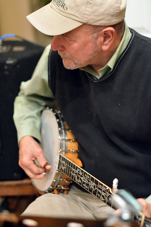Salem: Bill Smith on banjo leads the Salem Country Orchestra during the  Salem First Saturday Contra Dance at Tabernacle Church. photo by Mark Teiwes / Salem News