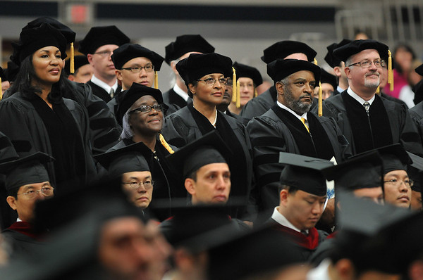 Wenham: During the Gordon-Conwell graduation, Doctor of Ministry students proudly stand as they are recogized for successfully completing the requirements of their program.