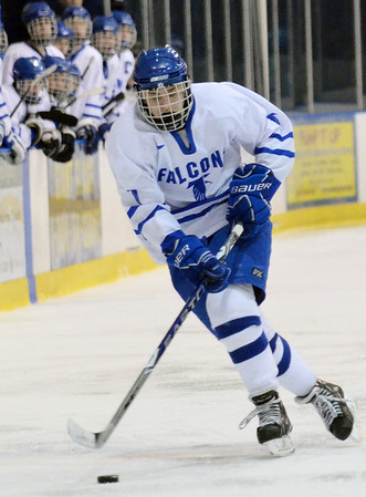Salem: Danvers Nick Strangie carries the puck to build a play.  Saugus. photo by Mark Teiwes / Salem News
