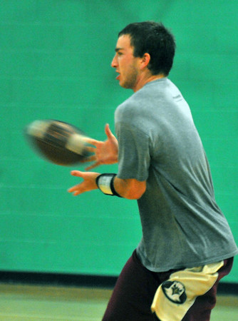 Hamilton: Pingree School football player Brian Rogers makes a catch during practice.   Mark Teiwes / staff photo