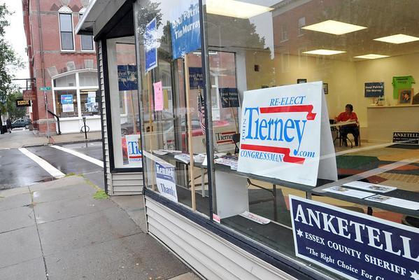 Beverly:  The Beverly Democratic city committee, right, and Republican city committee have opened up campaign offices directly across from each other on downtown Cabot Street.  photo by Mark Teiwes / Salem News