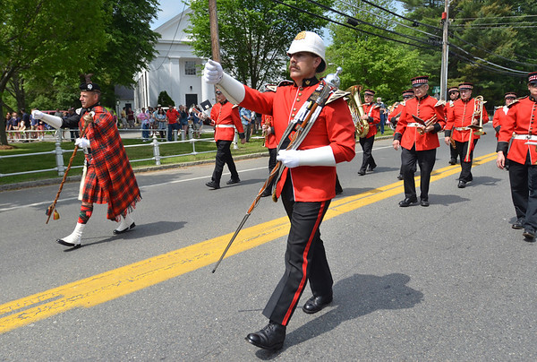 Wenham: Scott Clark, left, and his brother Mark lead the Regimental Band of Wenham down Main Street for Wenham's memorial day parade.  photo by Mark Teiwes / Salem News