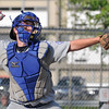 Saugus: Danvers 15-year-old Babe Ruth all-star catcher Thomas Quinn makes a throw to second base.  photo by Mark Teiwes / Salem News