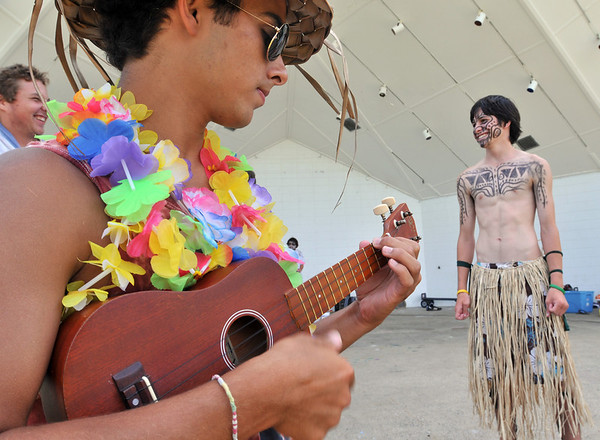 Beverly: Marco Egizi, 18, left, and Will McAuliffe, 16, both dressed in costumes for Beverly Recreation's summer program at Lynch Park.  photo by Mark Teiwes /  Salem News