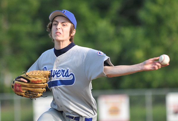 Saugus: Danvers 15-year-old Babe Ruth all-star  baseball pitcher releases a strike photo by Mark Teiwes / Salem News