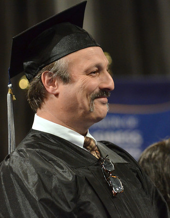 Salem: David Antin of Marblehead, gave the student address at North Shore Community College commencement ceremony recalling the life-chancing experience he had at NSCC.  photo by Mark Teiwes / Salem News