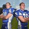 Danvers High School Football players Scott Hovey, left, is an outside linebacker and tight end.  Mike Connors is a key offensive and defensive lineman.photo by Mark Teiwes / Salem News