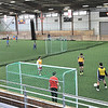 Topsfield: The arena at the Topsfield Fairgrounds is laid with artificial turf for the North Shore United indoor soccer club.  The U-15 team practices as a U-12 game goes on.  photo by Mark Teiwes  / Salem News