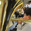 Hamilton: Trombone player Ted Chang warms up before performing with the Miles River Middle School band in the Spring concert     photo by Mark Teiwes / Salem News
