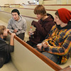 Swampscott: 8-year-old Joel Vered hangs out with Uri Nathan, 14, Aaron Rosenberg, 15, and Eli Neuman-Hammond, 15.  photo by Mark Teiwes / Salem News