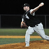 Danvers: Swampscott Sox starting pitcher Fred Cole releases some heat for one of his many strike outs at the North Shore Baseball League Final.  Photo by Mark Teiwes / Salem News