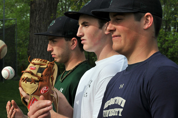 Hamilton: Pingree baseball team's three strong pitchers Brian Rogers, left, Jack Whelan, and Brendan Oliver pose for a photograph. photo by Mark Teiwes / Salem News