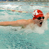 Salem: Masconomet High School swimmer  James Casey competes in the 100 meter fly at a meet against Hamilton-Wenham.  photo by Mark Teiwes  / Salem News