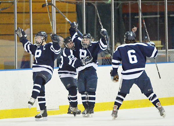 Salem: Peabody boys hockey team celebrate Mike Chiappini's goal in the team's 5-2 win over Danvers  photo by Mark Teiwes / Salem News