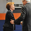 Salem: Salem State President Patricia Maguire Meservey greets Newt Gingrich at the university's speaker series.  photo by Mark Teiwes / Salem News