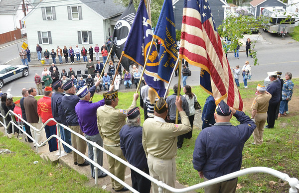 Salem: Veterans organizations, local officials, family and supporters came to dedicate a memorial stone honoring Philias J. Verrette for his efforts in World War II. photo by Mark Teiwes / Salem News