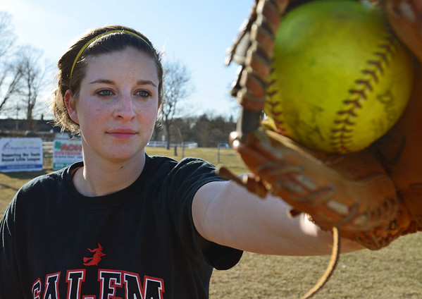 Salem: Salem High School girls softball player Sarah Mullarkey covers first base.   photo by Mark Teiwes / Salem News
