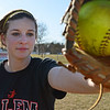 Salem: Salem High School girls softball player Sarah Mullarkey covers first base.   photo by Mark Teiwes / Salem News