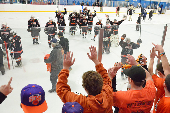 Stoneham: Beverly High School boys hockey team celebrate their playoff win over Winthrop on Saturday. photo by Mark Teiwes