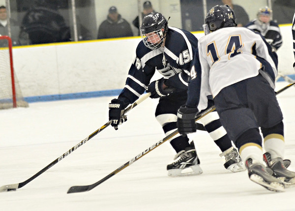 Malden: St. John's Prep forward Jarrod Hines, left, faces Malden Catholic's Andrew Cross.  photo by Mark Teiwes  / Salem News