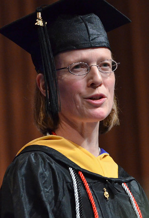 Salem:  Patricia Hughes, gives the student address.  photo by Mark Teiwes / Salem News
